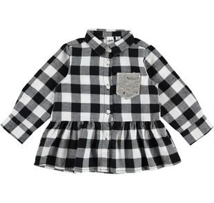 Maxi camicia per bambina in twill mano calda a quadri ido PANNA-NERO-8346