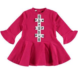 Vestitino in jersey stretch a manica lunga con fiocchi ido FUXIA-5830