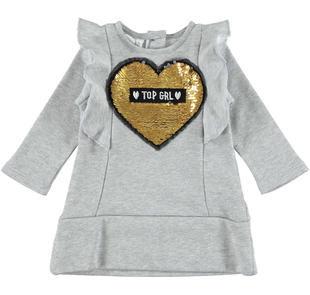 Vestito in felpa lurex con cuore di paillettes reversibili ido GRIGIO MELANGE-8992