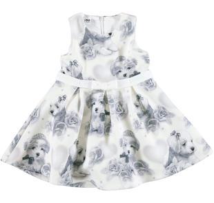 Raffinato e romantico abito bambina stampato con cuccioli ido PANNA-GRIGIO-6EP5