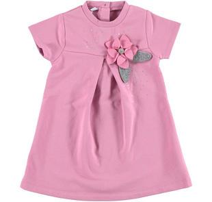 Abito a manica corta modello impero con rosa in feltro ido ORCHIDEA-2746