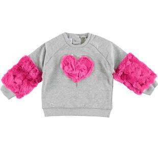 Grintosa e comoda maglietta in felpa con inserti in ecopelliccia ido GRIGIO MELANGE-8992