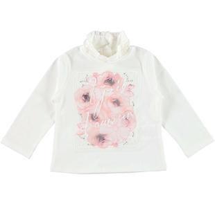 Lupetto in jersey stretch di cotone con patch floreale ido PANNA-0112