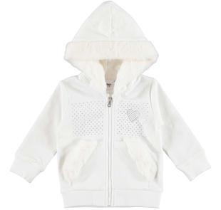 Morbido giacchetto con strass foderato in pelliccia ecologica ido PANNA-0112