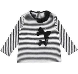Maglietta a righe con fiocchi e strass ido NERO-PANNA-8349