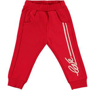 Pantalone in felpa stretch di cotone con dettagli glitter ido ROSSO-2253