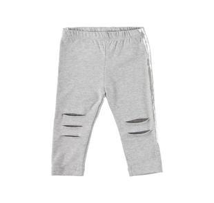 Leggings in cotone elasticizzato con tagli e toppe ido GRIGIO MELANGE-8992
