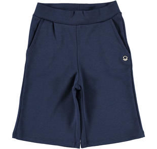 Pantalone bambina modello cropped in punto milano stretch ido NAVY-3854