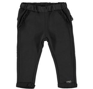 Pantalone in felpa con ruches per bambina ido NERO-0658
