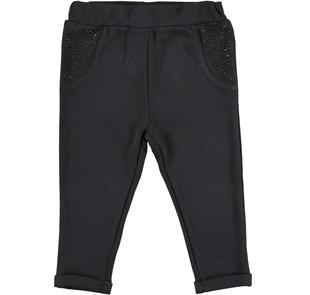 Pantalone in punto milano stretch con tasche di strass ido NERO-0658