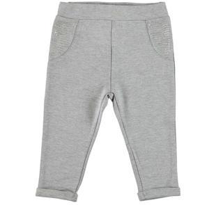 Pantalone in punto milano stretch con tasche di strass ido GRIGIO MELANGE-8992