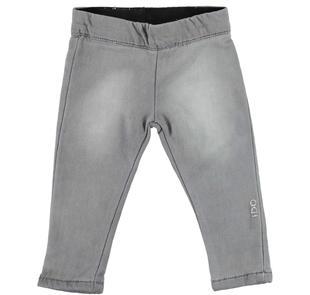 Pantalone in felpa denim delavata con sabbiature ido GRIGIO CHIARO-7992