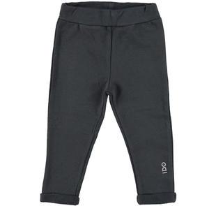 Pantalone in felpa stretch garzata con risvoltino e strass ido NERO-0658