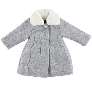 Elegante cappotto in panno laniero finitura glitterata ido GRIGIO MELANGE-ALLOVER SILVER GLITTER-6X34