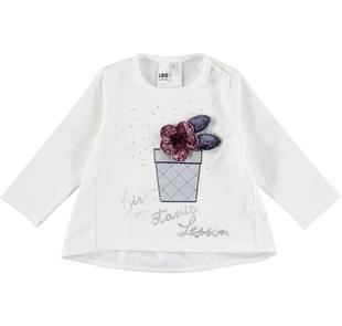 Maglietta svasata a manica lunga con fiore in ciniglia ido