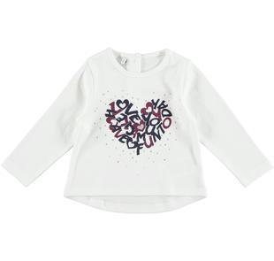 Maglietta svasata in interlock caldo cotone 100% con cuore ido PANNA-0112