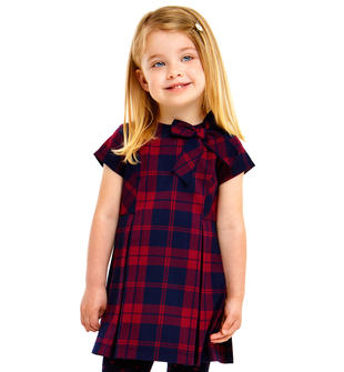 Abito bambina fantasia scozzese in twill stretch tinto filo ido BORDEAUX-BLU-8197