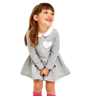 Abito bambina grigio e argento lurex in felpa garzata ido GRIGIO-ARGENTO-8445
