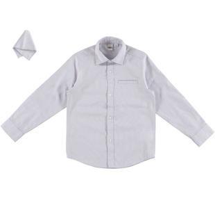 Camicia classica per bambino con pochette per la giacca ido GRIGIO-0516