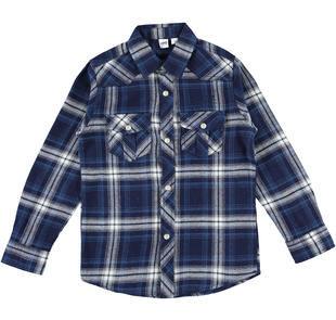 Camicia stile country a quadri 100% cotone ido NAVY-3856