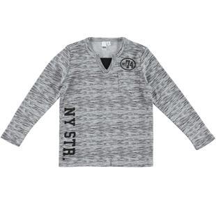 Maglietta a manica lunga caldo cotone con scollo a v ido GRIGIO-NERO-6EN5