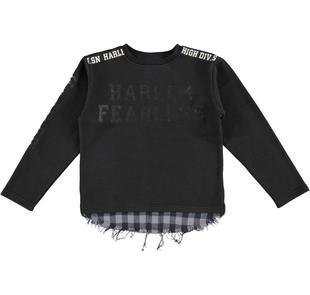 Maglietta con inserto in tessuto camicia a quadri ido NERO-0658