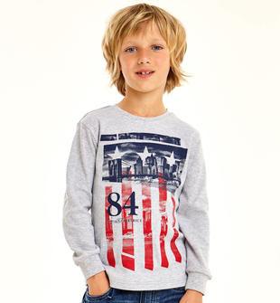 Maglietta per bambino in interlock caldo cotone tema americano ido GRIGIO MELANGE-8992
