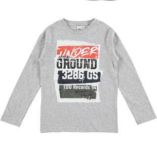 Maglia in jersey fiammato con stilosa stampa ido GRIGIO MELANGE-8992