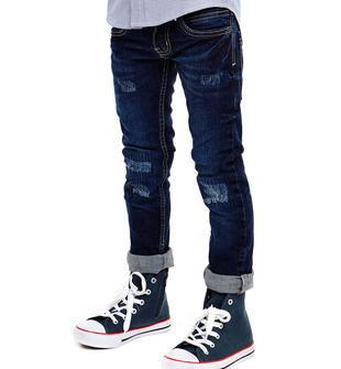 Jeans per bambino modello slim fit effetto delavato ido NAVY-7775