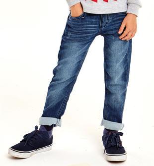 Pantaloni bambino in felpa denim delavata ido NAVY-7775