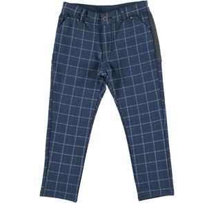 Pantalone per bambino in cotone stretch fantasia a quadri ido BLU-GRIGIO-6ES2