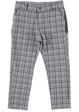 Pantalone per bambino in cotone stretch fantasia a quadri ido GRIGIO-BLU-6FD1