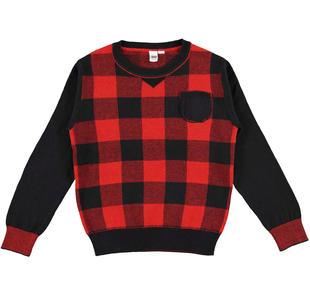 Grintosa maglia damier per bambino in tricot misto cotone e lana ido ROSSO-2253