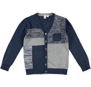 Cardigan in tricot misto cotone e lana con disegno geometrico ido NAVY-3856