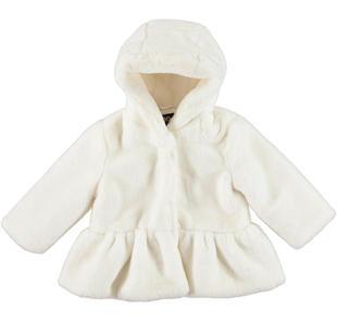 Morbido eco-pellicciotto bambina foderato in tessuto effetto satin ido PANNA-0112