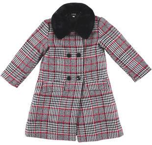 Raffinato cappotto bambina in panno laniero con motivo quadro ido NERO-ROSSO-8442