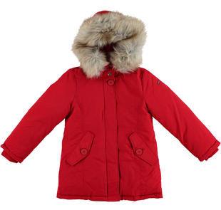 Parka invernale per ragazza in nylon taslon finitura idropellente ido ROSSO-2253