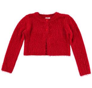 Coprispalla in speciale tricot lurex effetto pelliccia ido ROSSO-2253