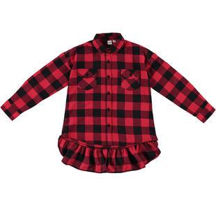 Plaid maxi shirt rosso e nero in twill 100% cotone ido ROSSO-NERO-8292
