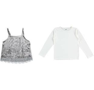 Completo top in ciniglia e maglietta a manica lunga ido GRIGIO-PANNA-8139