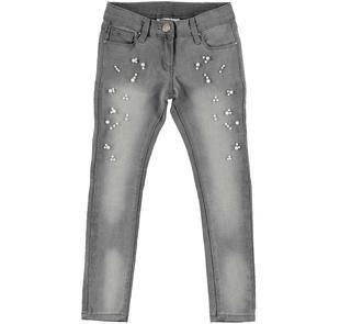 Jeans super slim iDO impreziosito con perle applicate ido GRIGIO CHIARO-7992