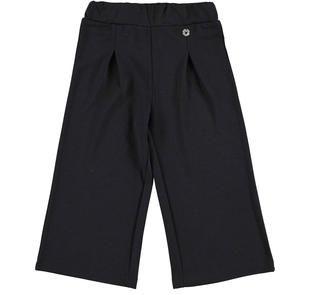 Pantalone bambina modello cropped vestibilità gamba larga ido NERO-0658