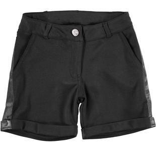 Pantalone corto in punto milano con bande laterali ido NERO-0658