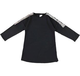 Vestitino svasato in felpa stretch di cotone garzata internamente ido NERO-0658