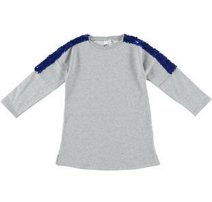 Vestitino svasato in felpa stretch di cotone garzata internamente ido GRIGIO MELANGE-8992