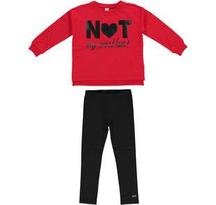 Completo maglietta modello oversize e leggings ido ROSSO-NERO-8292