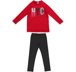 Maxi felpa con stampa e leggings in jersey stretch ido ROSSO-NERO-8292