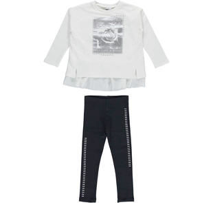 Maxi maglia con balze e leggings con strass ido PANNA-NERO-8346