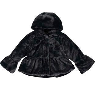 Giaccone bambina in morbida ecopelliccia con cappuccio doppiato ido NERO-0658
