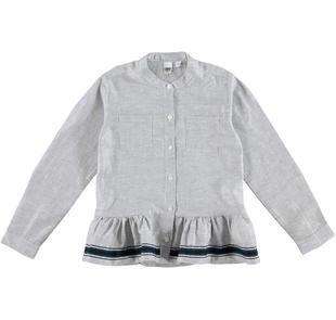 Camicia alla coreana con balza ido BLU-ARGENTO-8403